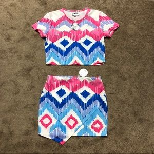NEW Sabo Skirt Matching Set Crop Top & Skirt Sz M